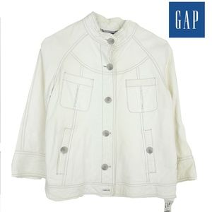 NWT Gap Womens 100% Leather Front Buttons Jacket